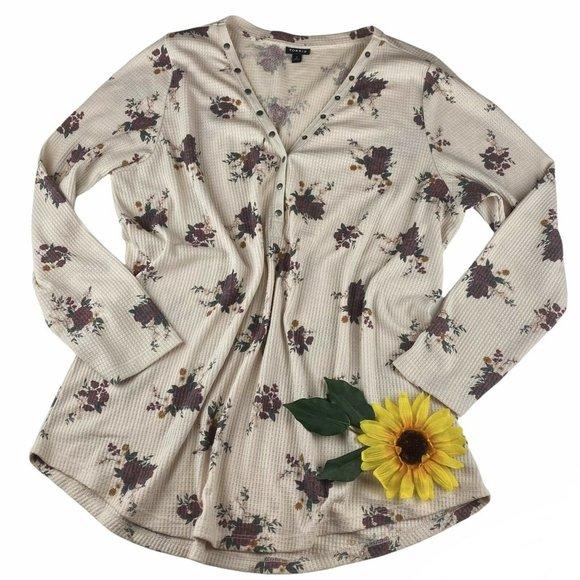 TORRID floral v neck henley long sleeve top size 3 3X plus warm cozy